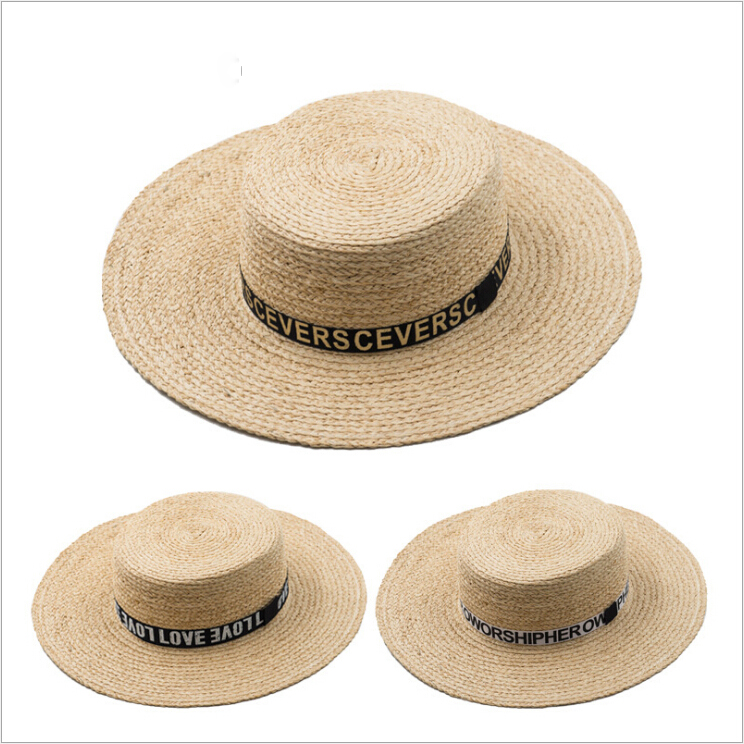 43e91b6c1ac Natural Custom Mexican Flat Top Raffia Sombrero Straw Hat Wholesale ...