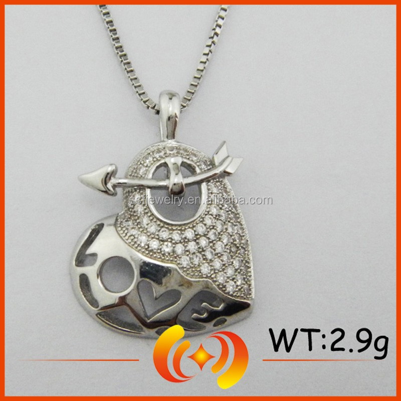 SP0323 New Arrival Antique 925 Silver Heart Shape Jewelry Hollow Pendant