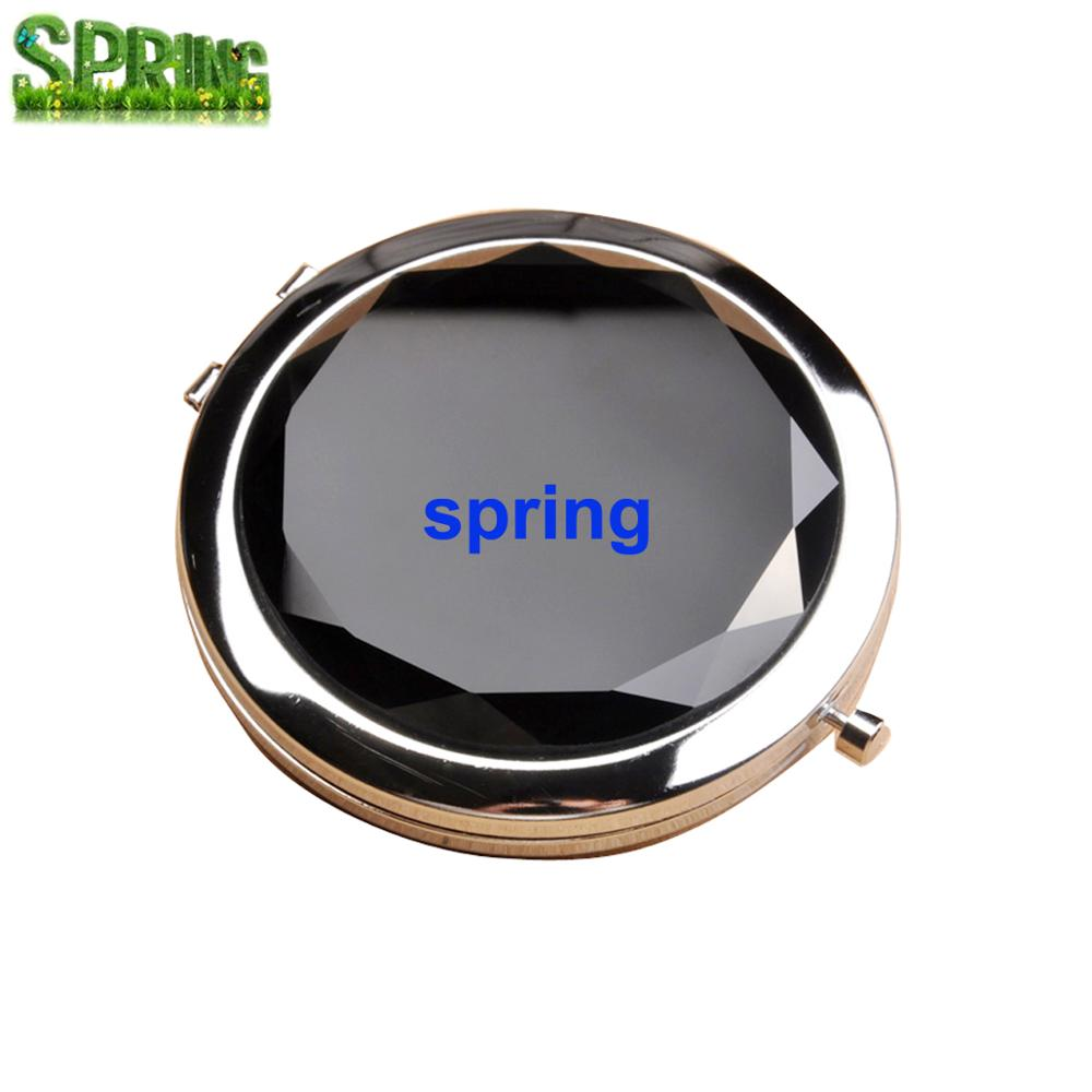 Wholesale Custom Laser Logo 70mm Mini Compact Cosmetic Bling Crystal Metal Pocket Mirror
