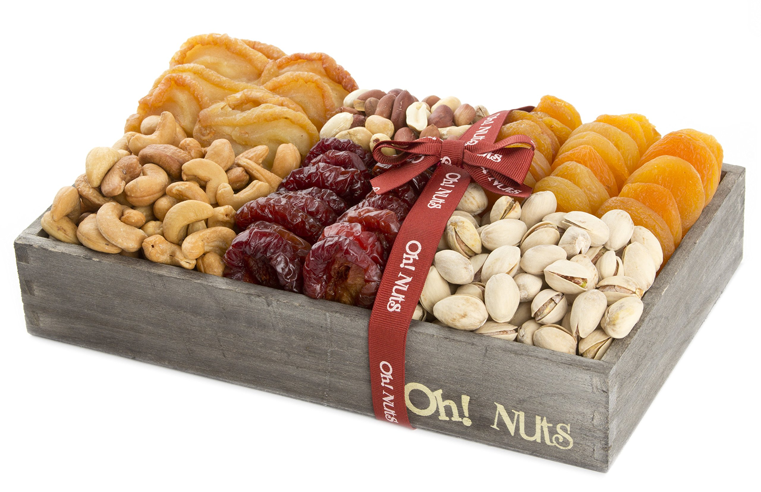 Nuts and Fruit Gift Healthy Baskets, Assortment gifts, Great as a Corporate Gift Basket or Gift any Occasion - Oh! Nuts (Deluxe Fruit and Nuts Gift)