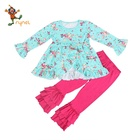 Toddler Girls outfits long sleeve outfits with flower print children clothes PGCC6088