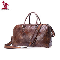 Factory Wholesale Customized Durable Stylish Plaid Large Overnight Weekender Travel Mens Leather Duffle Bag 8885