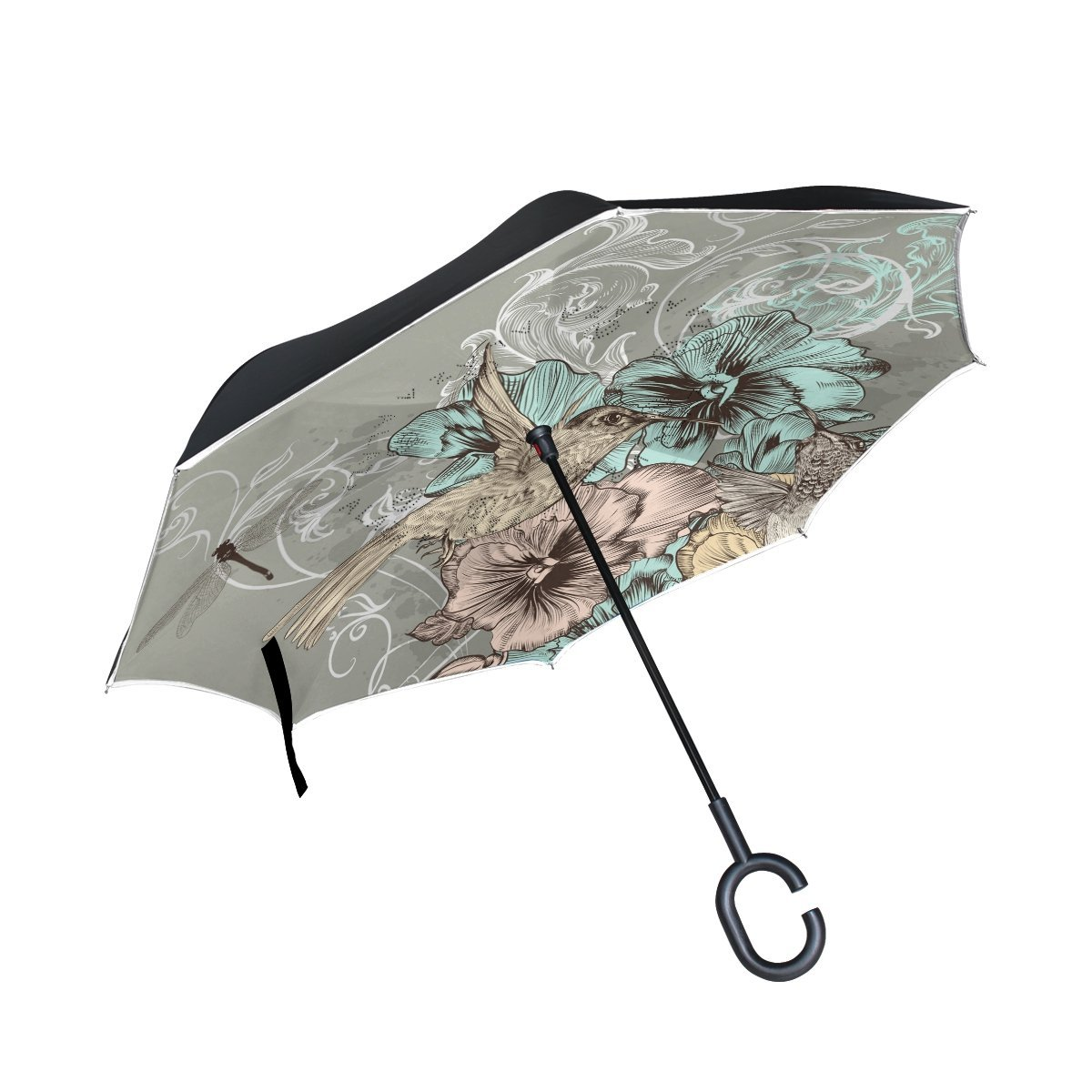 Custom Leaves Compact Travel Windproof Rainproof Foldable Umbrella