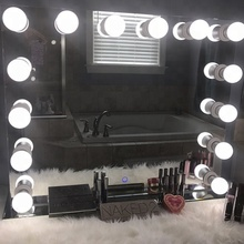 Led Verlichte Vanity Hollywood Dressing Make <span class=keywords><strong>Salon</strong></span> <span class=keywords><strong>Spiegel</strong></span> Met Lamp Verlichting, Hoge Kwaliteit Verlichte <span class=keywords><strong>Spiegel</strong></span>