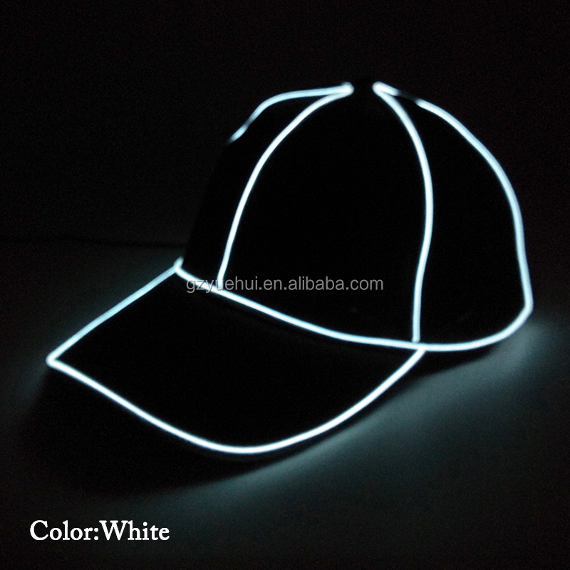 Newest EL Wire Glowing Single Color Baseball Cap 10Color Select with DC-1.5V Inverter Party Hats for Halloween Decoration
