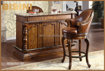 Classic Solid Wood Hand Carved Bar Cabinet With Marble