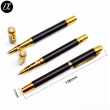 Hot selling black and gold luxury metal fountain pen with diamond on top