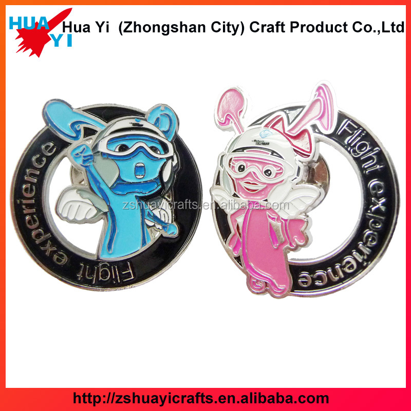 2017 Wholesale your own design zinc alooy with soft enamel button badge