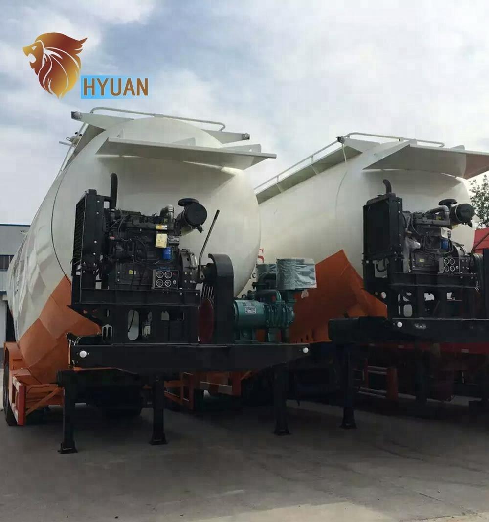 HYUAN 3 Axles Bulk Cement Tanker Semi Trailer bulk cement