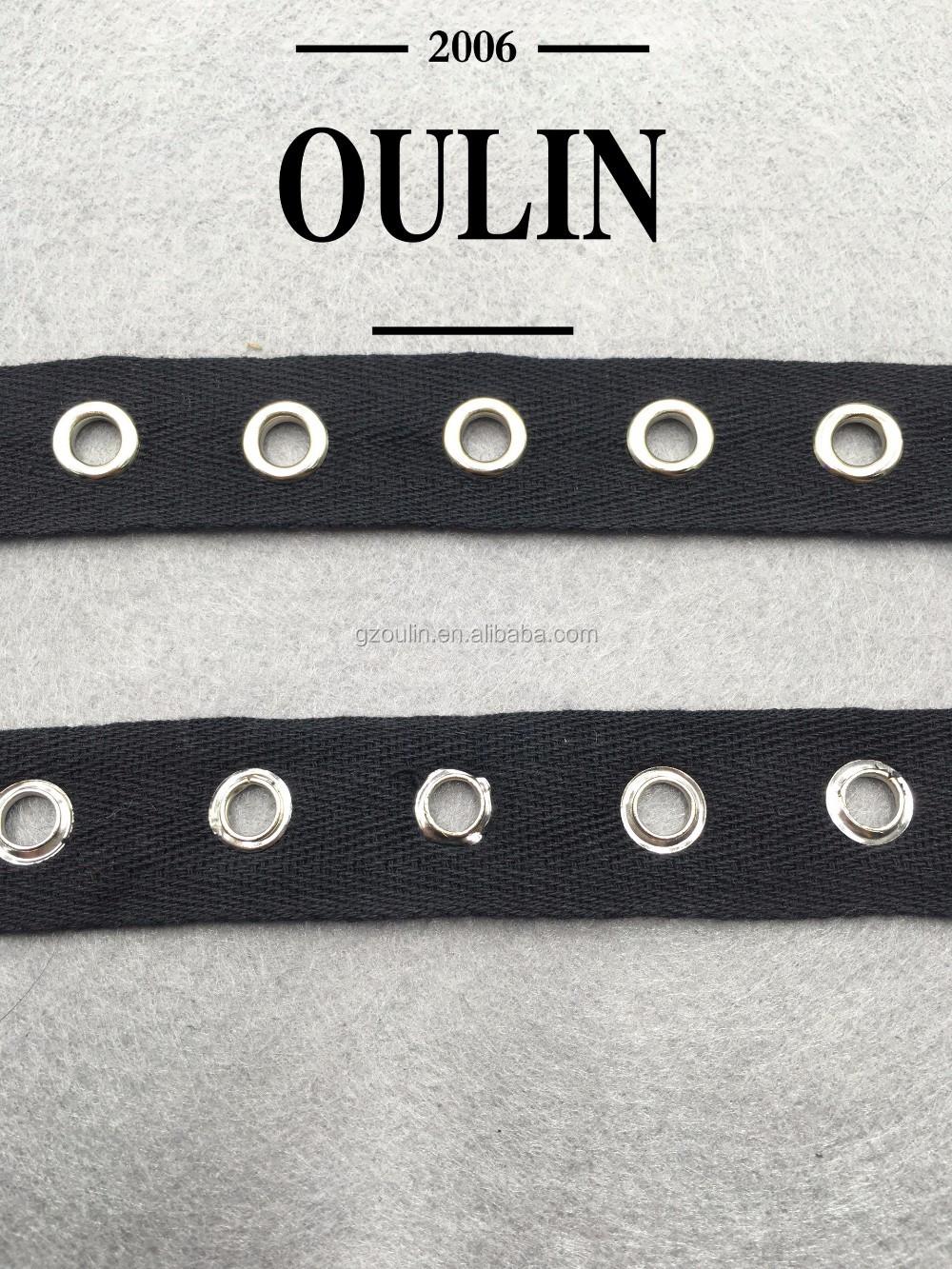 Terbaru Hitam Cotton Ribbon Pita Dengan Lubang Cincin Kustom Blet Black Untuk Berpakaian