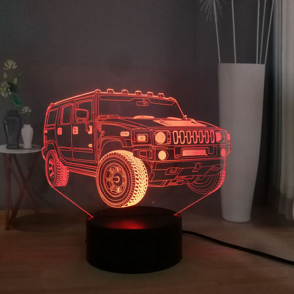 3D Optical Illusion Night Light Solution For Nightmares Firetruck Tractor Cool Soft Light Safe For Kids 7 LED Color Changing Lamp