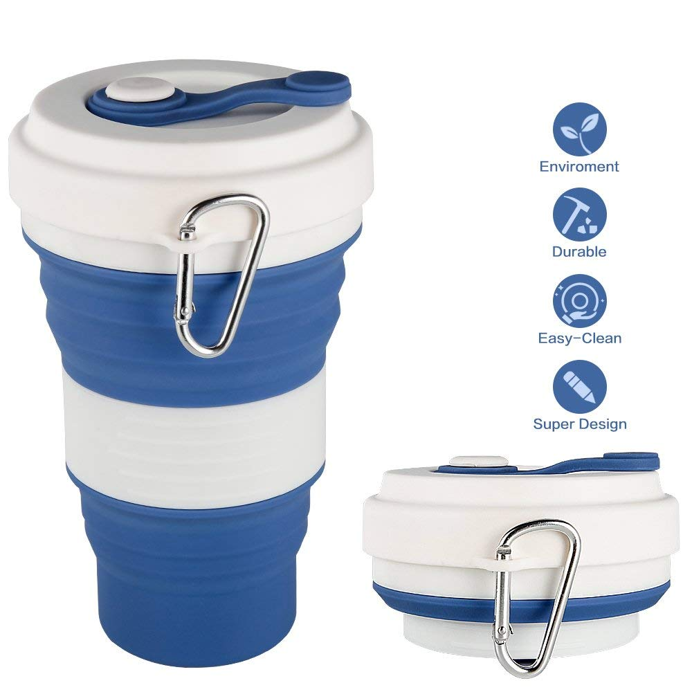 CREATELIFE Collapsible Travel Cup - Multifunctional Silicone Folding Camping Cup Sport bottle with Lids - Expandable Scald-proof Drinking Cup - BPA Free, Portable Bottle
