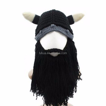 Christmas Halloween Funny Hat Personalized Beanie Wind Mask Bearded Viking  Horns Hat 7297dd3aca2