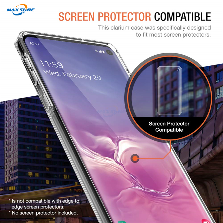Maxshine Clear Cellphone Case For Galaxy S10 Plus , Transparent Ultra Slim Mobile Phone Case For Samsung S10E