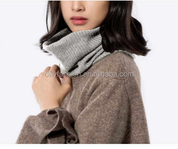 Dilly Fashion womens cashmere stripped knitted round neck ring scarf solid color