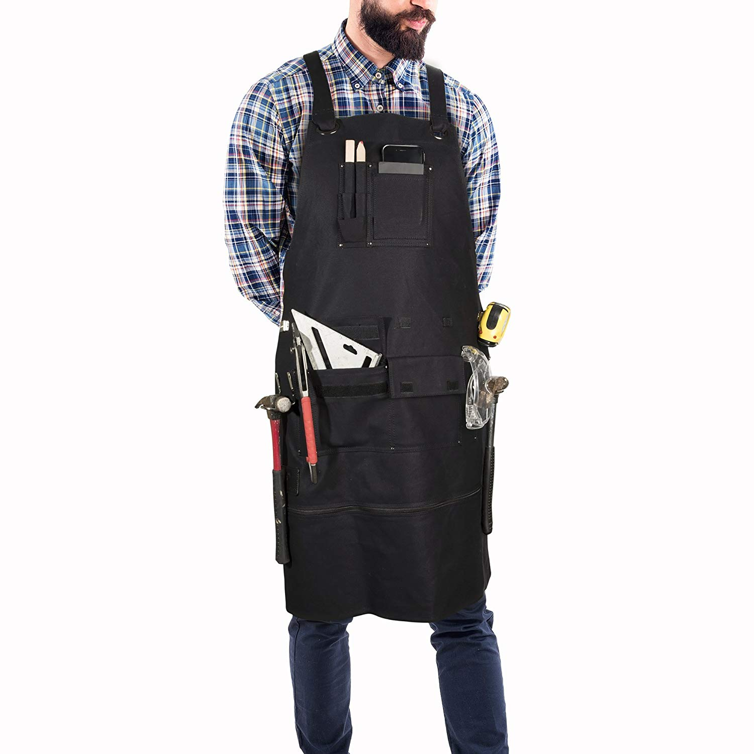 Premium Waxed Canvas Tool Apron with Metal Tape Measure Clip, Metal Hammer Holder, Metal Buckle, Adjustable Length 29-36in, Adjustable Back, Heavy Duty Woodworking Tattoo Barber Work Apron