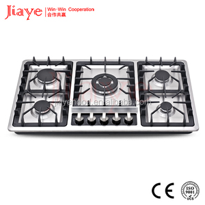 Attached Knob Cover Anti High Temperature Stainless Steel Surface Built-in 5 Burner Cooking Appliance Gas Cooker JY-S5026