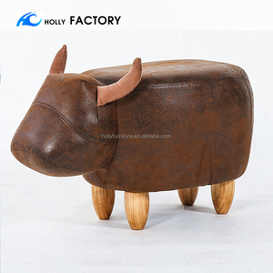 Decorative Cow Storage Ottoman Footstool Cute Animal Upholstered Stool for Kids Wooden Accent Footrest