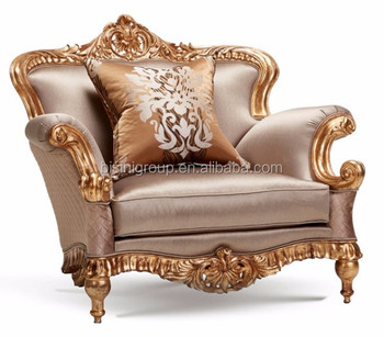 Bon Luxury French Baroque Style Classic Giltwood Carving Single Upholstery Sofa  BF12 04274b