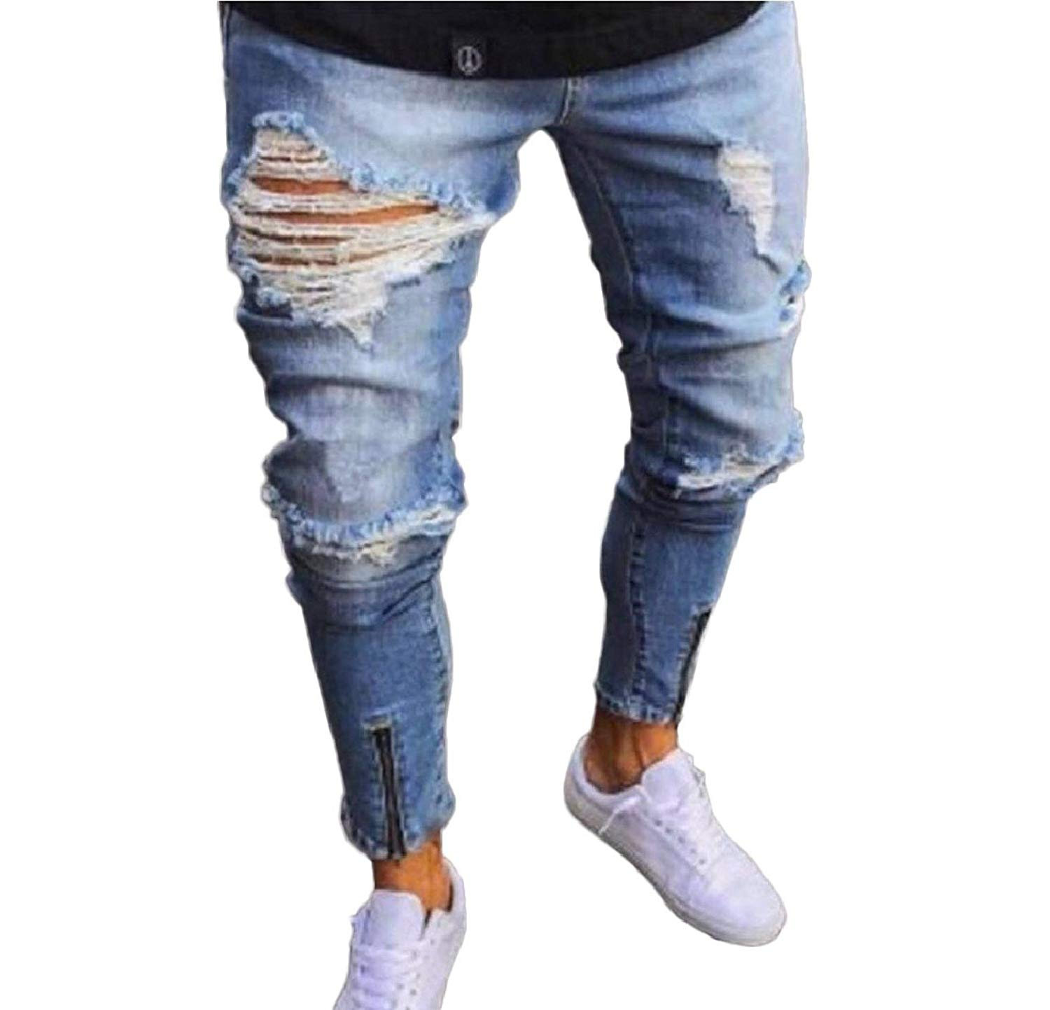 e1a1954afc Get Quotations · Abetteric Mens Low Rise Zip up Ripped Hole Stretchy  Tapered Jeans Trousers