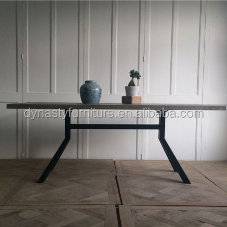 Vintage Industrial Dining Room Table With Wood Top