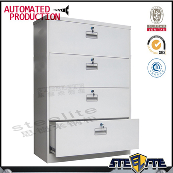Horizontal Lockable 4 Drawer Steel Master File Storage Cabinet / Long White  4 Tier Chest