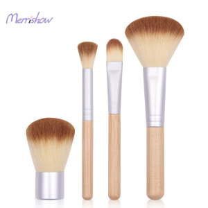 4 Pcs Professional Makeup Brush Set with Premium Synthetic Hair and Natural Bamboo handles for Face Cheeks and Eyes