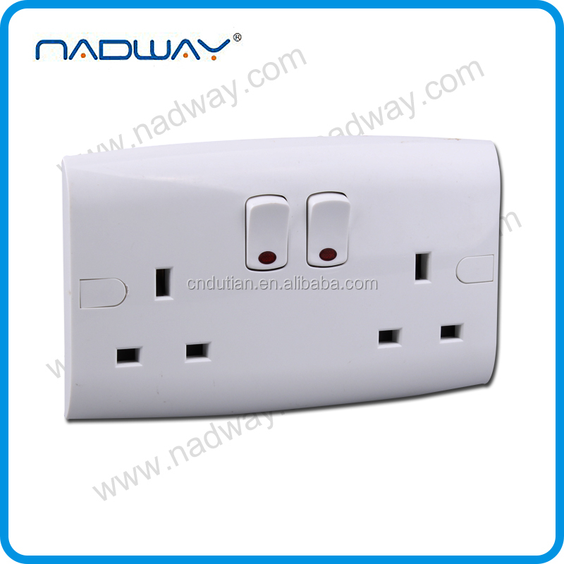 home 13A 250V UK/british 2gang 2 square 4 hole wall socket