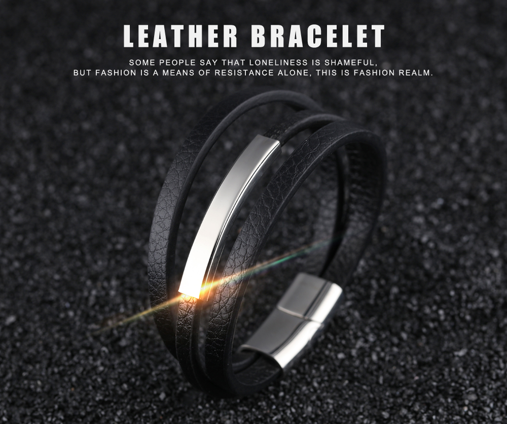 Wholesale Magnetic Clasp Bindy Wrap Genuine Mens Leather Bracelet For Sale