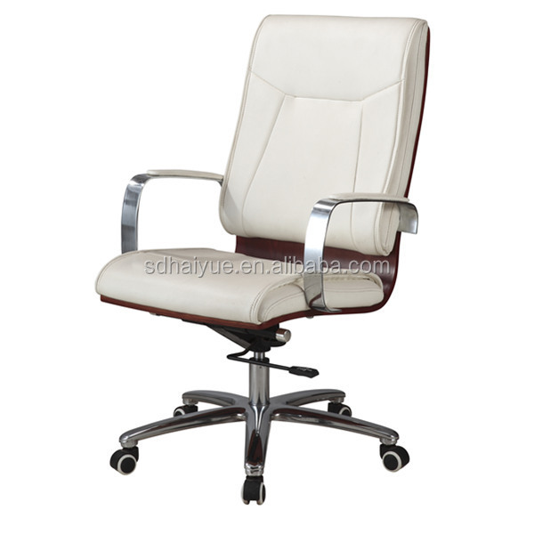 Wheels White Leather Wooden High Back Elegant Office Chairs Wooden HY3110