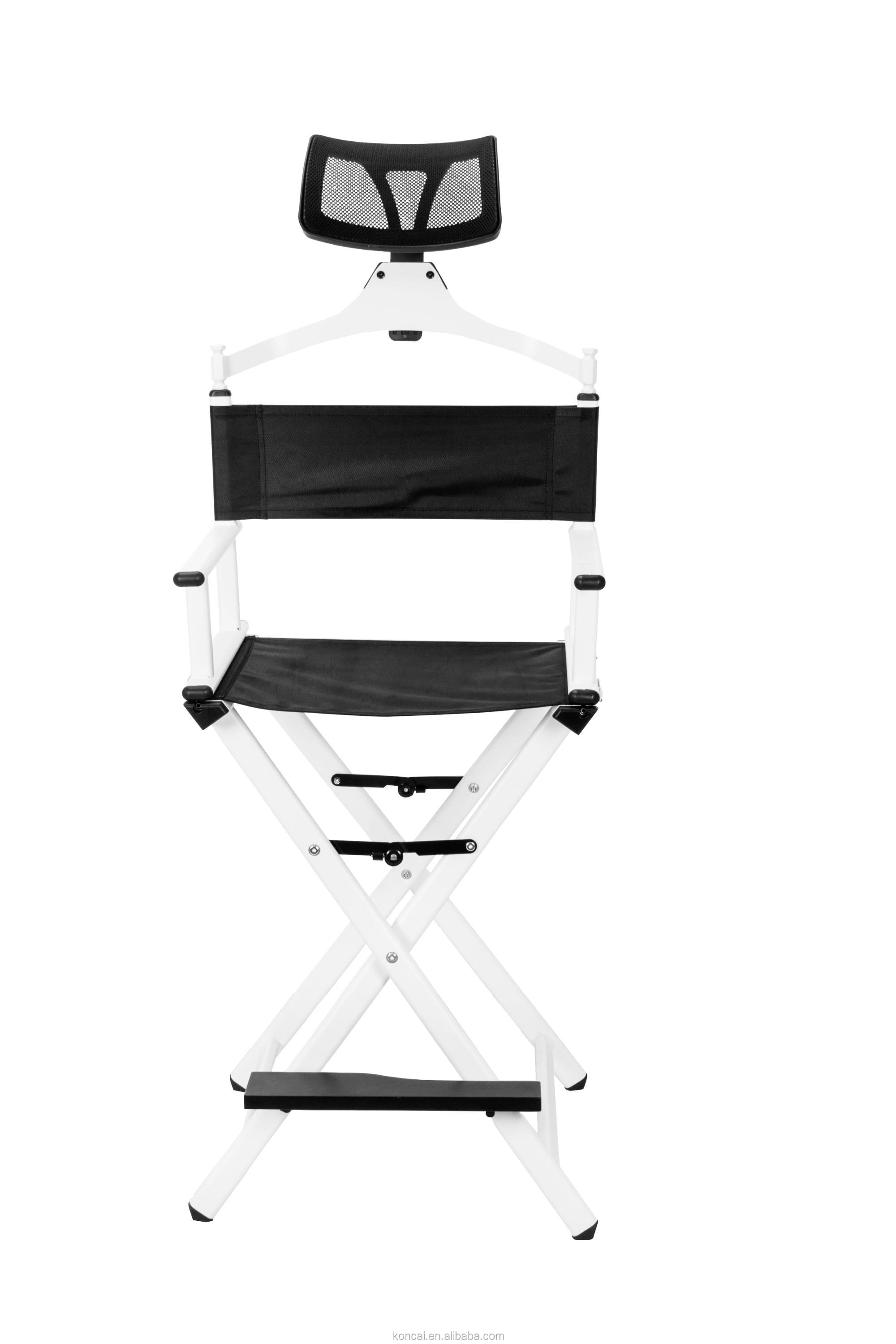 2018 New Color Makeup Chair with Headrest Folding Aluminum Makeup Hair Salon Chair Cosmetic Beauty Chair