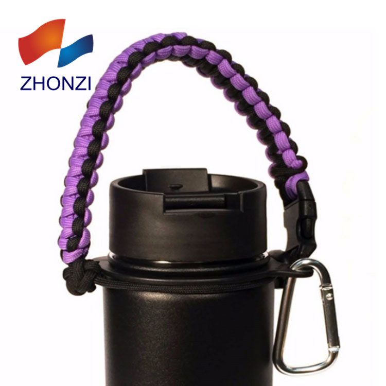 Wholesale Paracord Handle Bottles Holder With Ring Carabiner, Over 200 colors customized