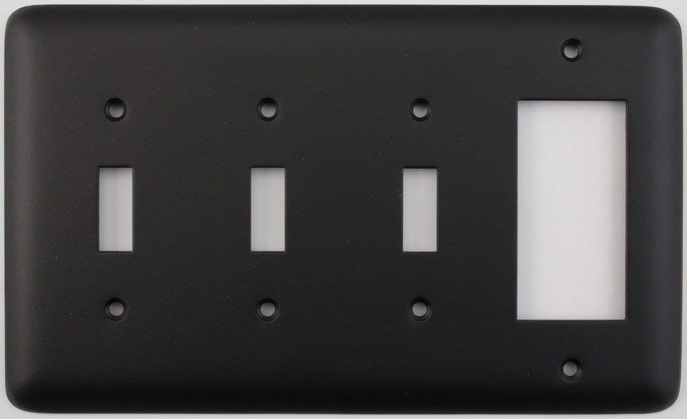 Classic Accents Rounded Black 4 Gang Combo Switch Plate - 3 Toggle Light Switches 1 GFCI/Rocker Opening