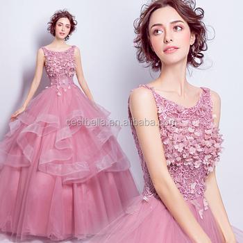 Princess Sweet Ball Gown Dark Pink Cinderella Prom Dress With Corset