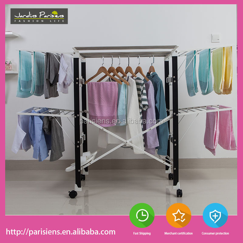 Multifunctional stainless steel clothes drying rack towel stand with PVC plastic bracket