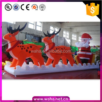 Christmas Outdoor Decoration 7m Long Inflatable Santa Sleigh With Reindeer