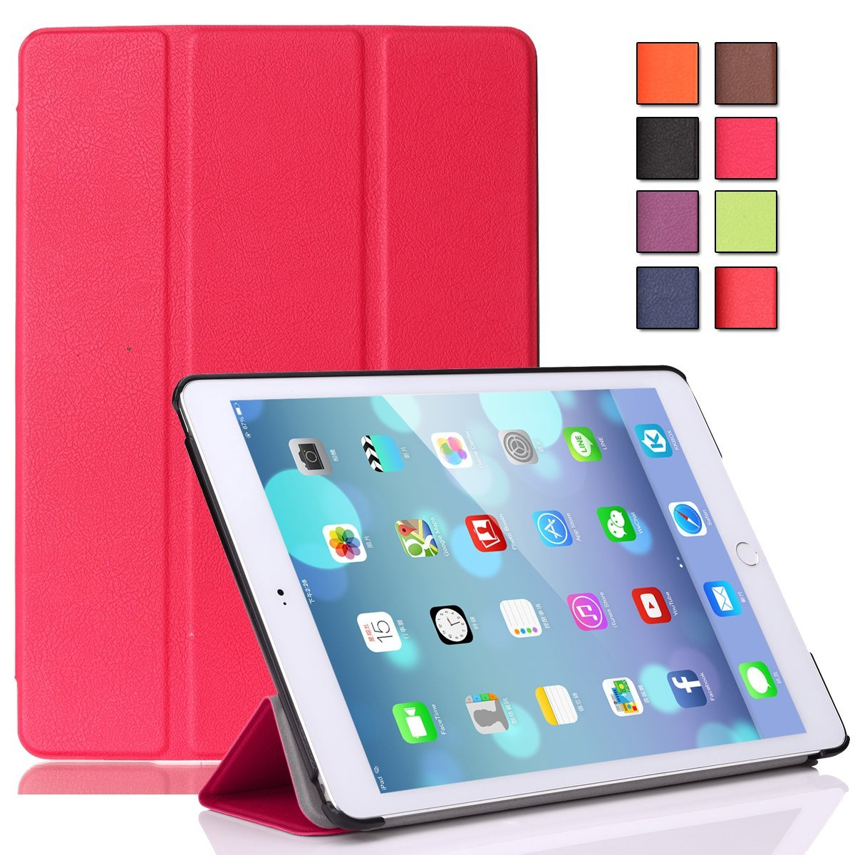 iPad Air 2 Case,iPad 6 Case - Pasonomi® Ultra Slim Lightweight Smart Shell Cover Case for iPad Air 2 Tablet (With Smart Cover Auto Wake/Sleep Feature) (Hot Pink)