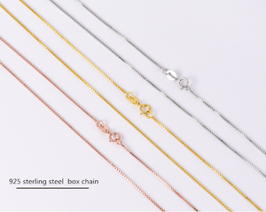 ATHENAA 925 Sterling Silver 0.8mm Box Chains Thin Clavicle Necklace Fashion Jewlery for Women Rose Gold/White Gold/Gold Plated