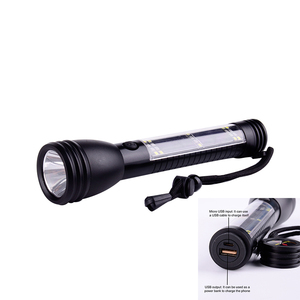 3 Watt Multifunctional Rechargeable Aluminum Solar LED Flashlight With Power Bank Function