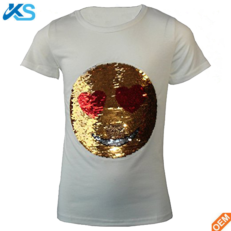Kids emoji emotion Smiley face pure cotton age 3-14 reversible sequin T-shirt