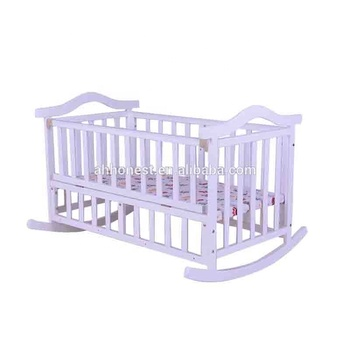 White solid wood baby bed swinging crib baby crib HN-610