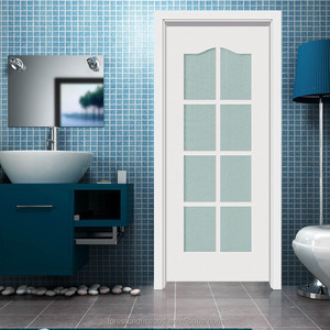 Interior white powder room wood door with 8 frosted glass