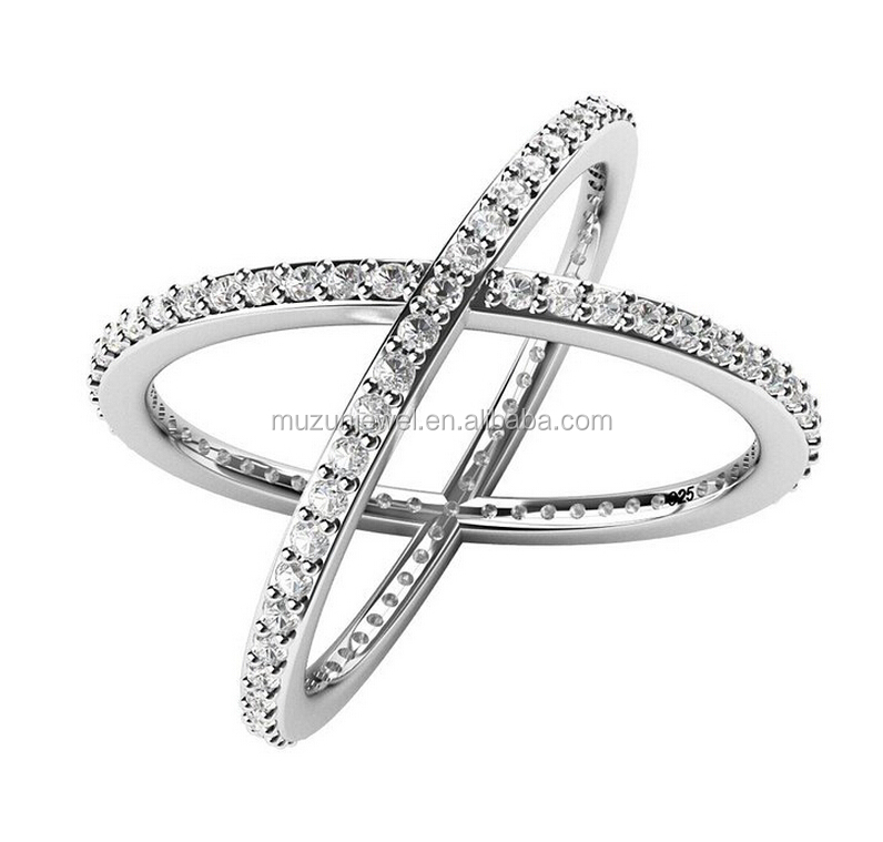 Sterling Silver 925 Cubic Zirconia CZ Criss Cross X Ring