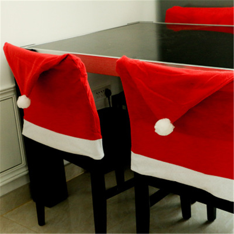 Christmas Decorations Chair Hat Restaurant Home Party Kitchen Christmas Chair Cover