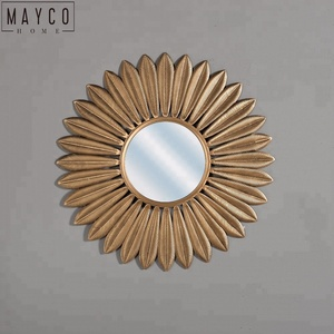Mayco Indian Antique Gold Sunflower Shape Metal Decorative Wall Mirror