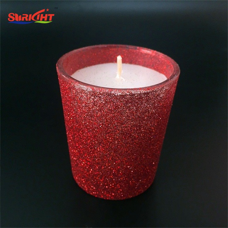 Red Glitter Christmas Customized Jar Holder Container Candle