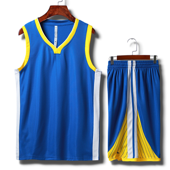 00f5c6b6606 blank design blue and yellow color basketball jersey blue basketball uniform