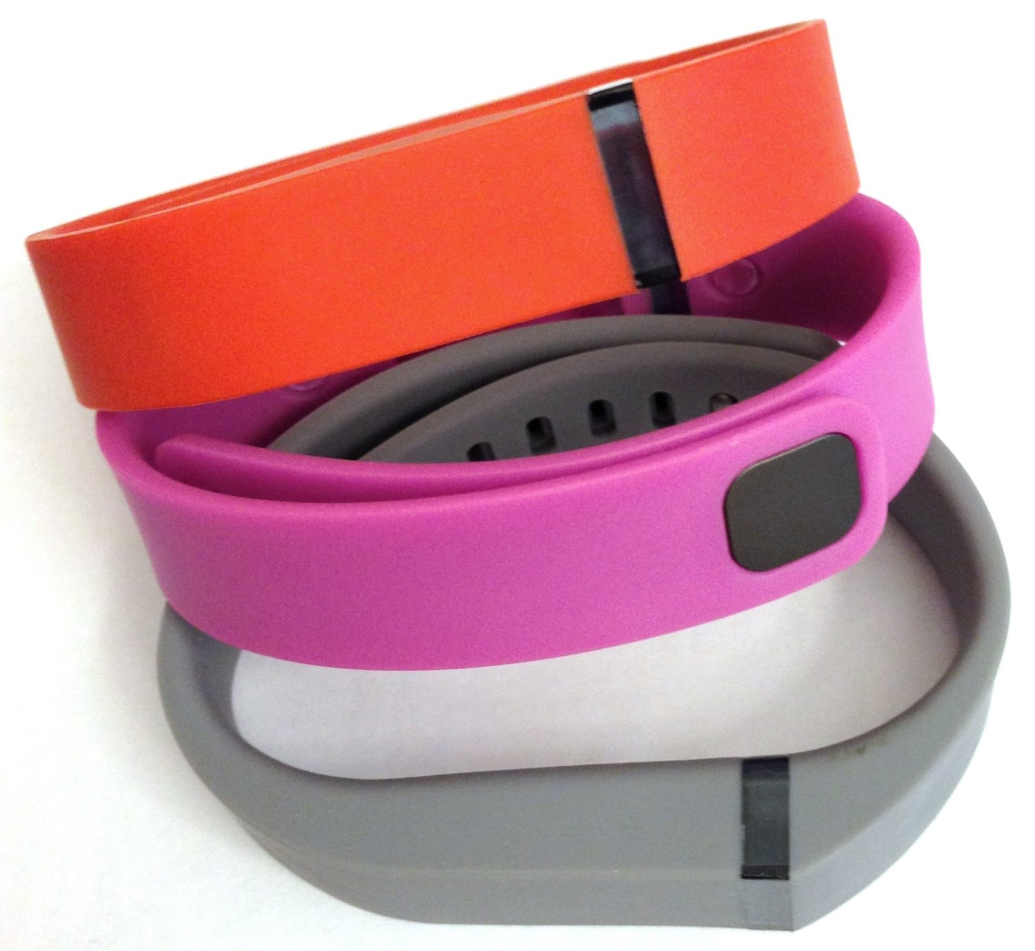 Set 3 Colors Large L 1pc Grey 1pc Red (Tangerine) 1pc Purple / Pink Replacement Bands With Clasp for Fitbit FLEX Only /No tracker/ Wireless Activity Bracelet Sport Wristband Fit Bit Flex Bracelet Sport Arm Band Armband
