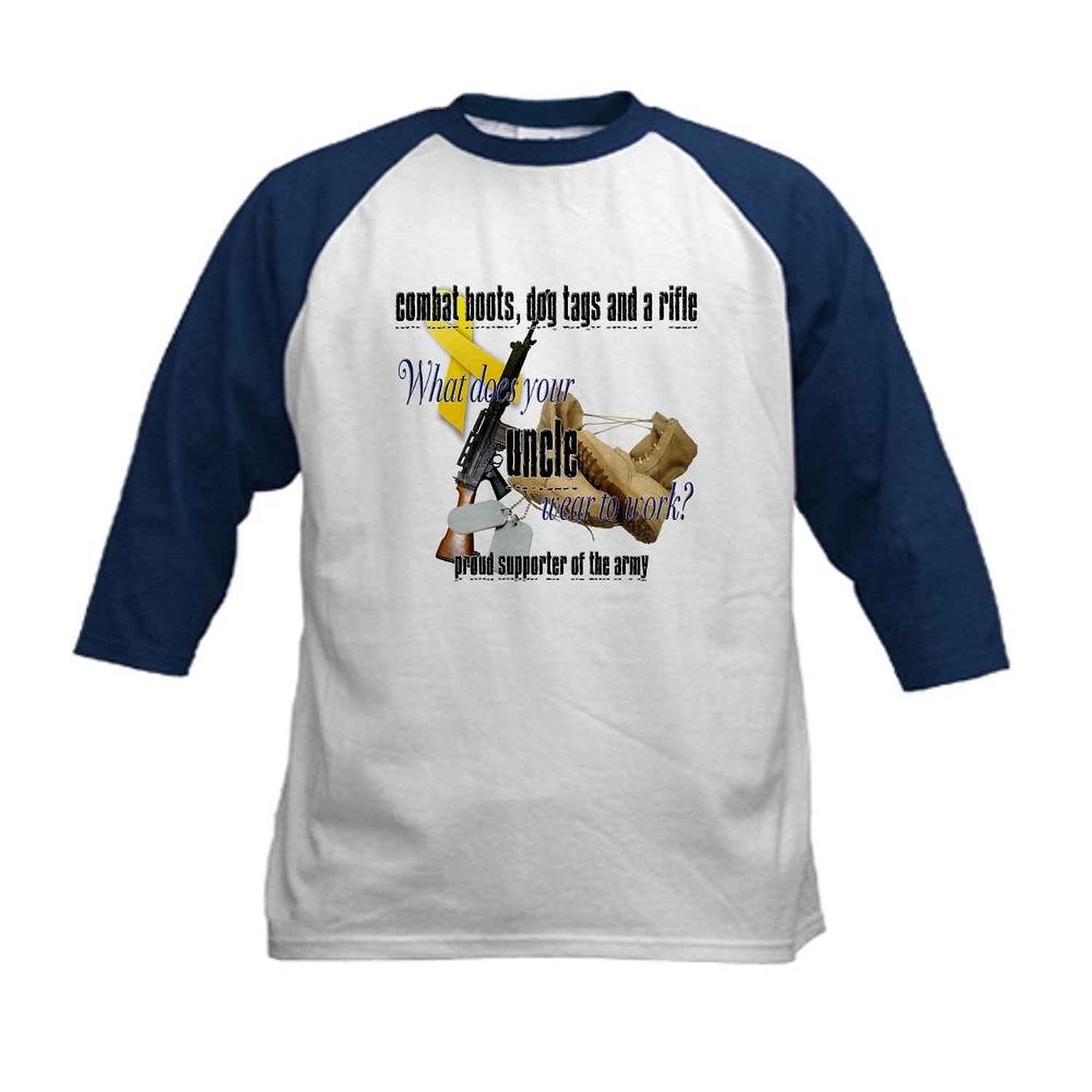 b252b2a9 Get Quotations · CafePress - Army What Does Your Uncle Wear Kids Baseball  Jerse - Kids Cotton Baseball Jersey
