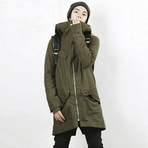 men 2015 green black thick solid wide-waisted fashion coat men autumn trenches high end MA012 free shipping